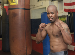 Former world champion Willy Wise at the Wesbury Boxing Club preparing for the W3P DVD shoot.